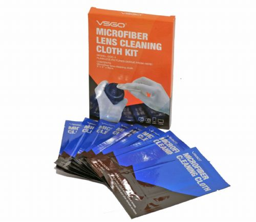 "VSGO Microfiber Lens Cleaning Cloth Kit 8x 5""x5"" Sealed Anti-Static Cloths"